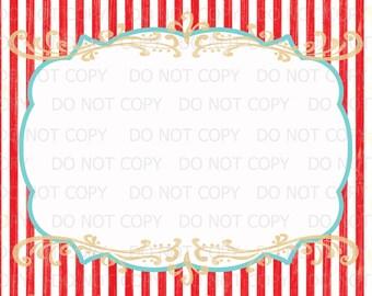 "Printable DIY Vintage Circus sign -  BLANK 8.5"" x 11"" INSTANT DOWNLOaD"