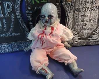 Creepy baby OOAK doll. Creepy Clementine. Something different for Halloween.