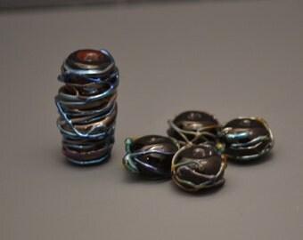 Silver glass tendrils Lampwork Glass focal bead set-Handmade-SRA M118