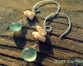Light blue chalcedony and white bamboo coral chips on hammered sterling silver spiral dangle earrings