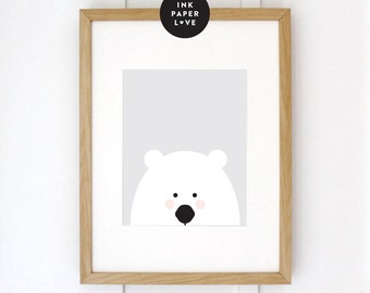 Polar Bear Art Print, a modern minimal illustration, for a modern kids room.