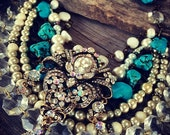 Last payment custom rustic Bridal jewelry country glam turquoise barn cowgirl wedding Jo'ellie boutique multistrand custom chunky statement