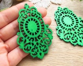 WP45 / # 6 Jade Green / Moroccan Style Filigree Wood Findings For Earring/Laser Cut Lace Charm / Pendant /  Colorful wooden pendant earrings