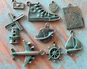 Travel charms Collection Aged Look verdigris patina 9 Different Charm/pendant