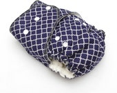 One Size Fitted Hybrid Cloth Diaper Navy Blue and White