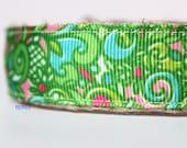 Girl Dog Collar, Floral Dog Collar, Stripe Dog Collar, Dog Collar, Colorful Dog Collar, Pink Collar