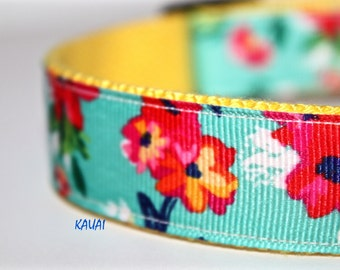 Hawaiian Dog Collar, Floral Dog Collar, Ribbon Dog Collar,  Adjustable Dog Collar, Flowery Dog Collar, Kauai Collar,  Maui Dog Collar