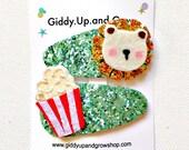 Felt Hair Clip Glitter Hair Bows for toddlers, Circus Lion, giddyupandgrow