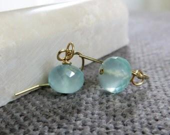 seafoam blue earrings, aqua chalcedony rondelle, azure, pastel ball