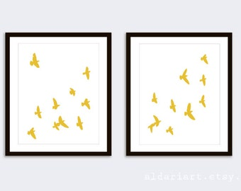 Birds Prints - Birds Wall Art - Modern Decor - Minimalist Decor - Mustard yellow Bird Art - Aldari Art