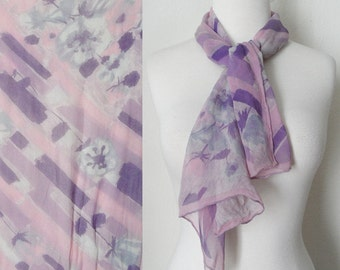 60s Pastel Purple and Pink Floral Print Sheer Silk Chiffon Head Neck Scarf Retro Kitsch Kawaii