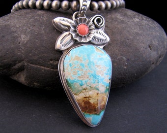 Rustic Royston Turquoise Azteca Nueva Sterling Pendant