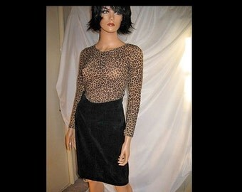 PURRFect for Fall Gorgeous Boho Hipster Mod Classic Beatnik Black  Suede Skirt by Mirage