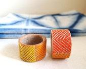 Shibori Napkins and Ceramic Rings Set