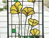 "Yellow Poppies Geometric --Stained glass Panel 10"" x  23 5/16"""