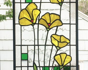 "Yellow Poppies Geometric --One Stained glass Panel 10"" x  23 5/16"""