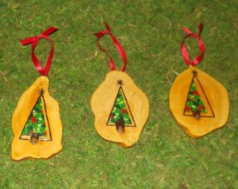 Christmas Cypress Knee Slices, Set of 3 Hand Made, Wood Burned & Fabric Trees, Rustic  FREE SHIPPING!!!