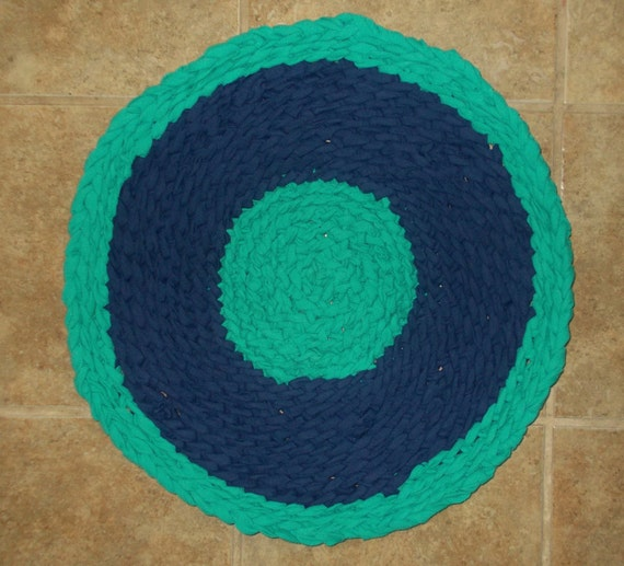 Rag Rug 20 Round Handmade Small Pet Bed Mat Blue & Green