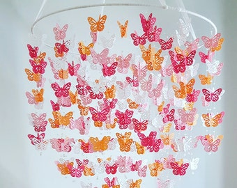 XL Pink Orange Raspberry Butterfly Nursery Baby Mobile wrapped ribbon ring Butterfly Mobile 18 inch  ANY colors