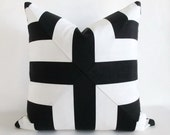 Mitered Cross Pillow Cover Black White Stripes Indoor Outdoor