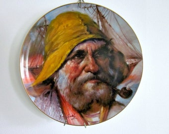 """Vintage 1979 Nautical Wall Hanging Plate """"The Whaler"""" by Endre' Szabo, Limited Edition - Beach Cottage - Man's Office Decor - Sailor Plate"""