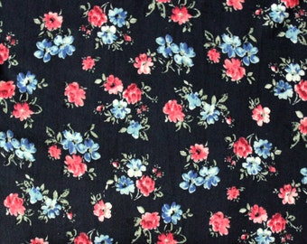 Black Blue and Red Floral Single Brushed Poly Spandex Knit, 1 yard