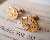 antique Edwardian cufflinks / Art Nouveau gold-filled & silver bean back lucky clover quatrefoil Cuff Links signed S.B. Co