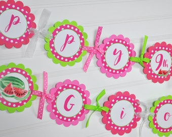 Watermelon Birthday BANNER Personalized, Girls 1st Birthday Party, Summer Birthday Party Decorations