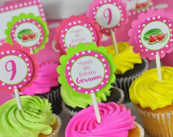 Watermelon Cupcake Toppers, Watermelon Birthday Party, Personalized Birthday Decorations - Set of 12