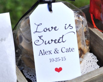 Wedding Favor Tags (Love Is Sweet) - Baby Shower Thank You Tags - Favor Tag - Bridal Shower - Birthday Favor Tags - Set of 12