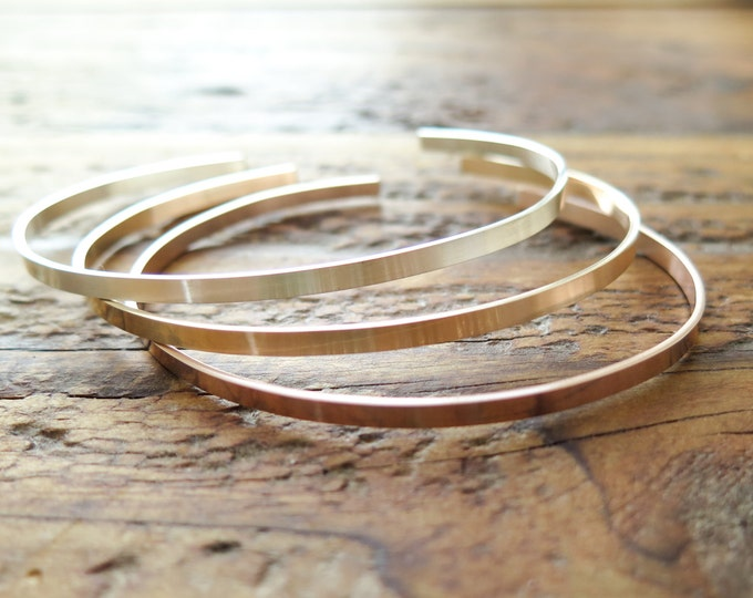 Skinny Bracelet Cuff Custom Stamped Rose Gold Fill, 14kt Gold Fill or Sterling, Thin, Skinny, Dainty - Hand Stamped by Betsy Farmer Designs