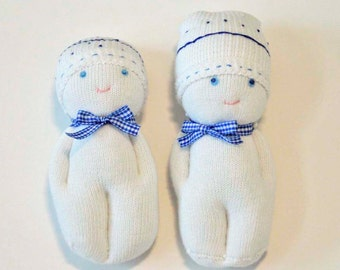 Two Little Sock Dolls With Sleeping Bag and Pillow