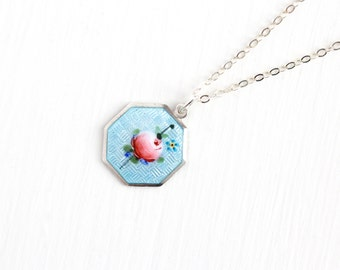 Vintage Sterling Silver Guilloche Enamel Rose Flower Pendant Necklace -Art Deco 1920s Floral Light Blue & Pink Octagonal Small Charm Jewelry