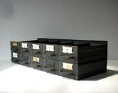 Vintage Industrial Metal Bins Drawers / Equipto / Catalog Drawers / Tool Bin / Set of 10