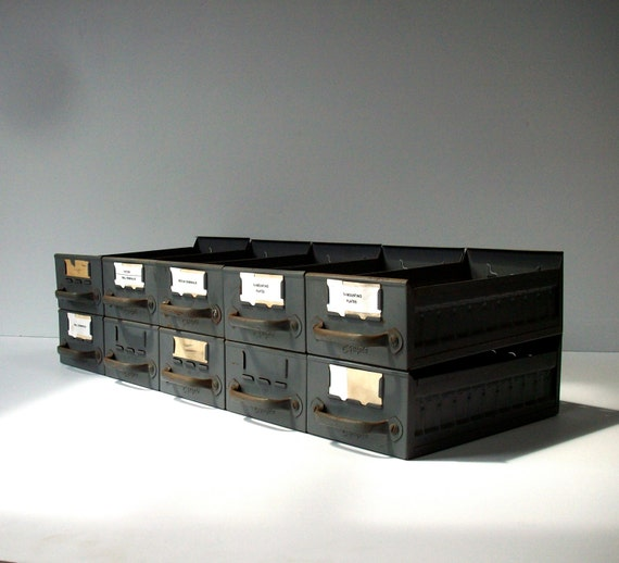 Vintage Industrial Metal Bins Drawers / Equipto / Catalog Drawers / Tool Bin / Set of 10