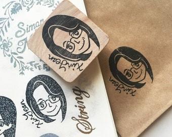 Customized portrait cartoon caricature rubber stamp