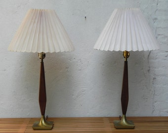 Pair Danish Modern Walnut & Brass Table Lamps with Pleated Shades