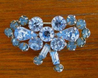 Vintage 60s Silver Tone Metal Rhinestone Bow Brooch Pin Costume Jewelry