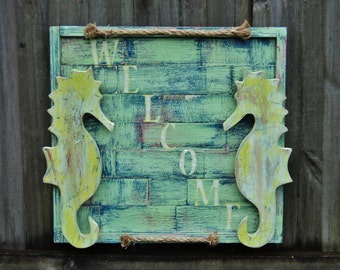 WELCOME Sign, Rustic Wall Decor, Seahorse Sign, Beach House Style Wall Art, Coastal Living