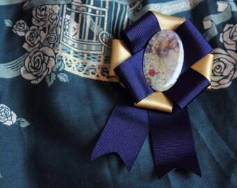 Navy and Gold Lolita Elegant Lady Rosette