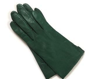 Vintage Green Leather Kidskin Dress Gloves Size L 7.5