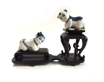 Pair Miniature Vintage Chinese Baby Porcelain Opium Den Headrests on Double Black Lacquer Stand