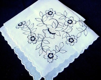 Fine Swiss Handkerchief in White with Black Embroidery