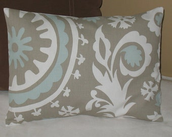 SALE  Standard Bed  Pillow Sham  26 x 20 Turquoise  Suzani Fabric Both Sides