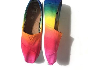 Tie Dye Rainbow Toms Shoes Custom Toms