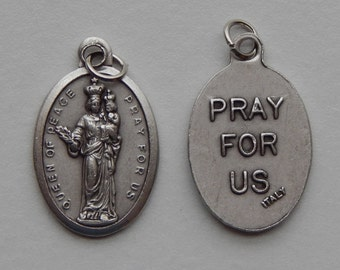 5 Patron Saint Medal Findings - Queen of Peace, Die Cast Silverplate, Silver Color, Oxidized Metal, Made in Italy, Charm, Drop, RM912