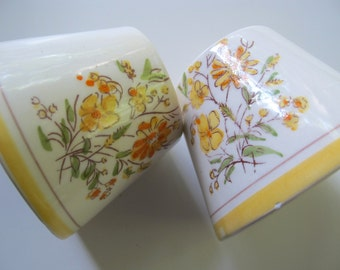 2 Cute Egg Cups yellow flowers ceramic
