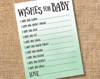 Wishes for Baby Mint Ombre Printable Baby Shower Baby Boy Twins Gender Neutral Sage Watercolor Baby Wishes Advice Card Green INSTANT DOWLOAD