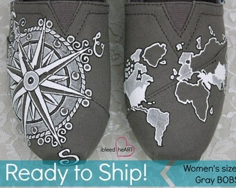 Ready to Ship - Women's size 6.5 - Travel Compass BOBS Shoes and World Map - Wanderlust Adventure - Custom Painted  - Wearable Art