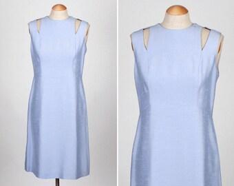 SALE vintage mod dress • 1960s ice blue dress with shoulder cut out detail